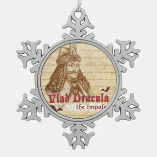 The historical Count Dracula Snowflake Pewter Christmas Ornament