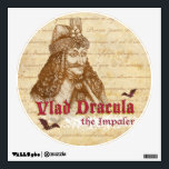 """The historical Count Dracula Wall Sticker<br><div class=""""desc"""">Vlad III Dracula the Impaler: the real  historical Count Dracula. Historical engraving portrait of a bloody Count Dracula called The Impaler or Tepez. A perfect gift for all vampire and mystery fans.</div>"""