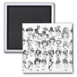 The History of Women's Hats 2 Inch Square Magnet