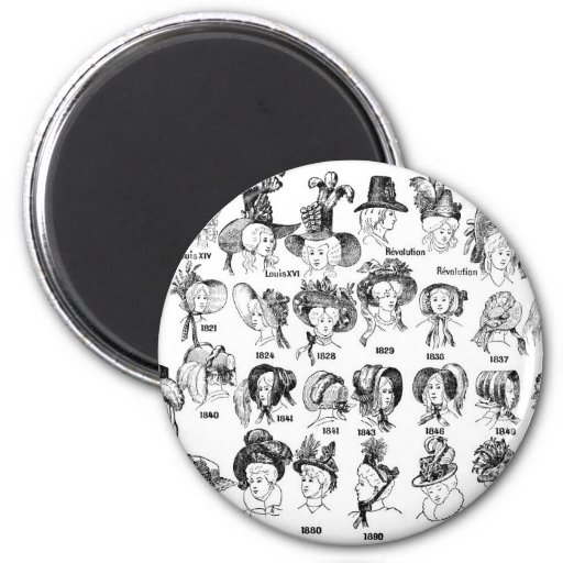 The History of Women's Hats Refrigerator Magnets