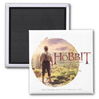 The Hobbit Logo with Bilbo Back Fridge Magnets