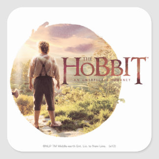 The Hobbit Logo with Bilbo Back Square Sticker