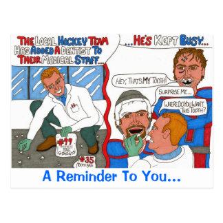 The Hockey Dentist Reminder Post Card