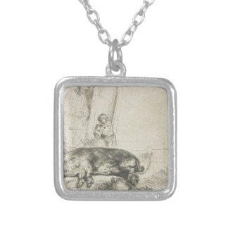 The hog by Rembrandt Square Pendant Necklace