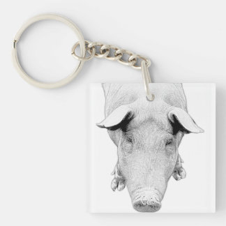 The Hog in Black and White Keychain