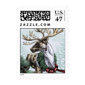 """The Holiday Courier"" small size postage"