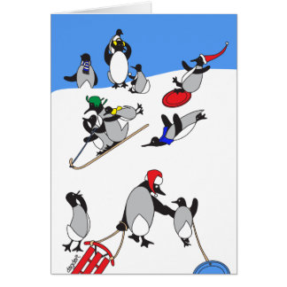 The Holiday Penguin Sledding Hill Greeting Card
