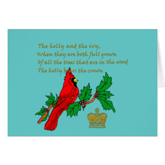 The Holly and the Ivy with Cardinal and Crown Card
