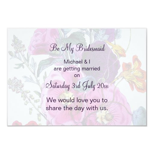 The Hollyhocks Collection Be My Bridesmaid 3.5x5 Paper Invitation Card