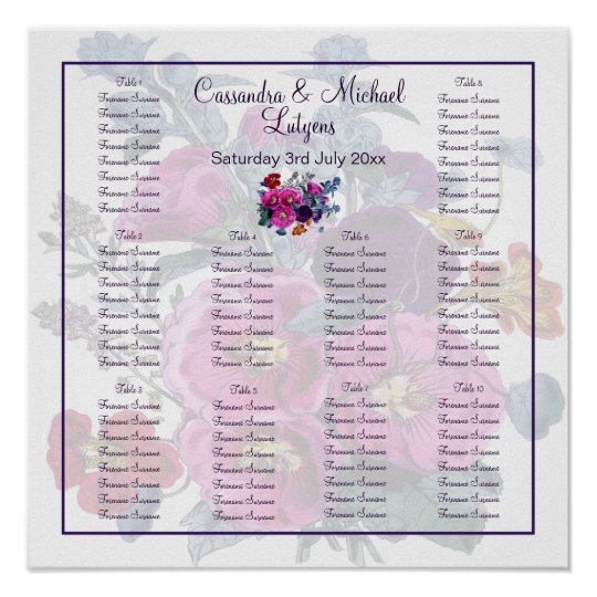 The Hollyhocks Collection Table Seating Poster
