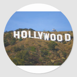 The Hollywood Sign on Hollywood Hills California Classic Round Sticker