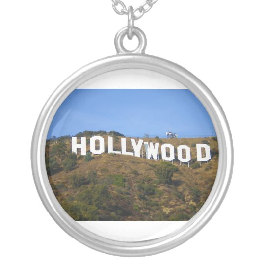 The Hollywood Sign on Hollywood Hills California Silver Plated Necklace