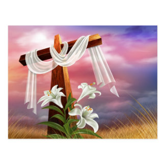 The Holy Cross - Draped in White with Lilies Post Cards