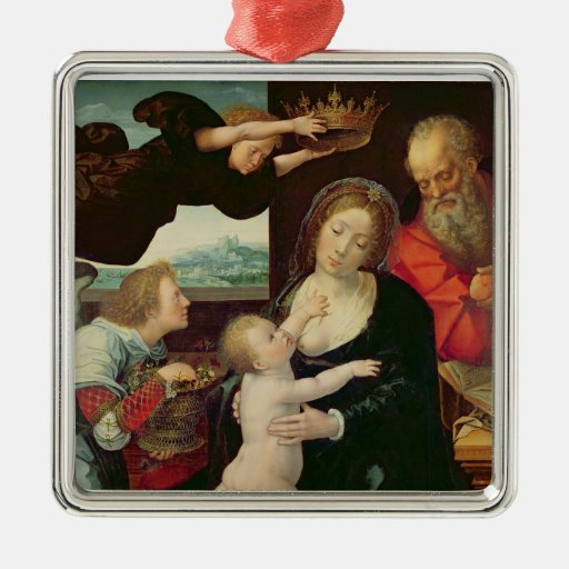The Holy Family, 1522 (oil on panel) Square Metal Christmas Ornament