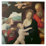 The Holy Family, 1522 (oil on panel) Large Square Tile