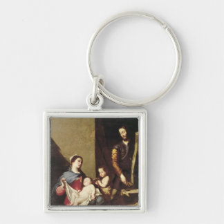 The Holy Family, 1639 Silver-Colored Square Keychain