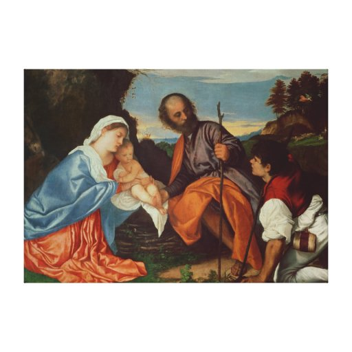 The Holy Family and a Shepherd, c.1510 Canvas Print