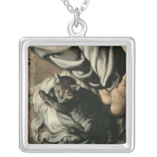 The Holy Family around a Fire, c.1532-33 Square Pendant Necklace