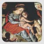 The Holy Family around a Fire, c.1532-33 Square Sticker
