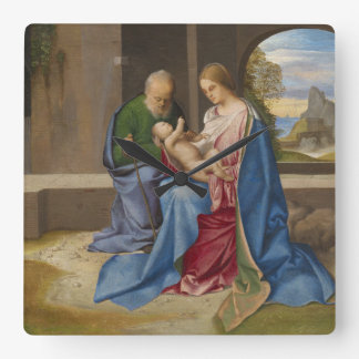 The Holy Family by Giorgione Square Wall Clock