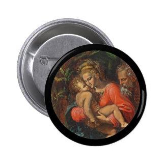 The Holy Family by Girolamo da Carpi Button