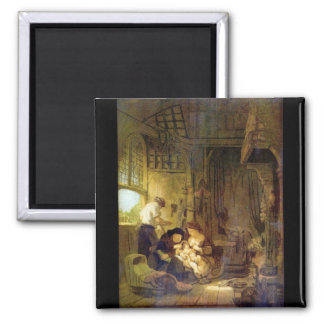 The Holy Family by Rembrandt Harmenszoon van Rijn Refrigerator Magnets