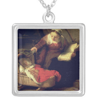 The Holy Family, c.1645 Square Pendant Necklace