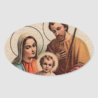 The Holy Family - Jesus, Mary, and Joseph Oval Sticker