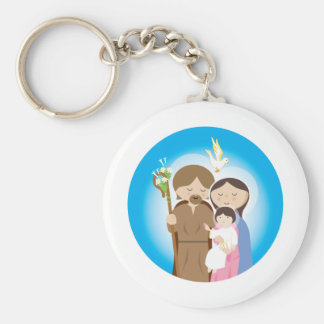 The Holy Family Basic Round Button Keychain