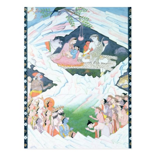 The Holy Family of Shiva and Parvati Post Card