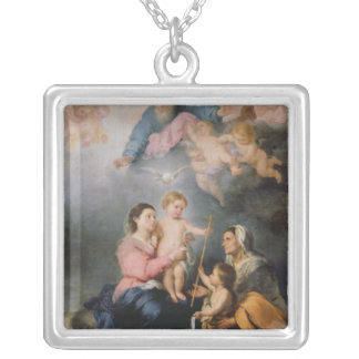 The Holy Family or The Virgin of Seville Square Pendant Necklace