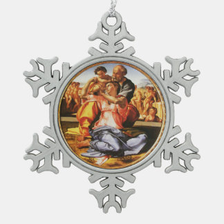 The Holy Family Snowflake Pewter Christmas Ornament