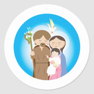 The Holy Family Round Stickers