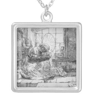 The Holy Family with a cat, 1654 Square Pendant Necklace