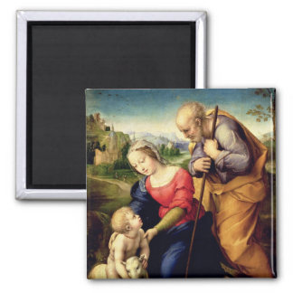 The Holy Family with a Lamb, 1507 2 Inch Square Magnet