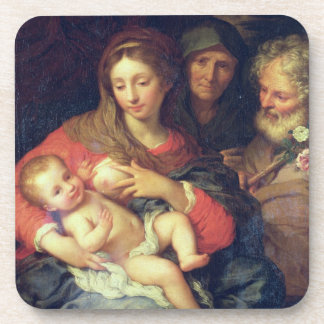 The Holy Family with Elizabeth (oil on panel) Beverage Coaster