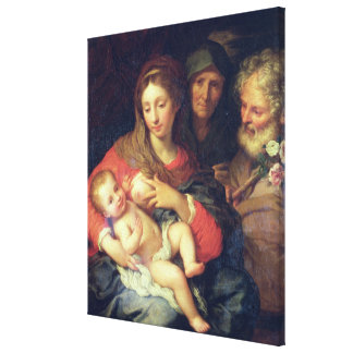The Holy Family with Elizabeth (oil on panel) Canvas Print