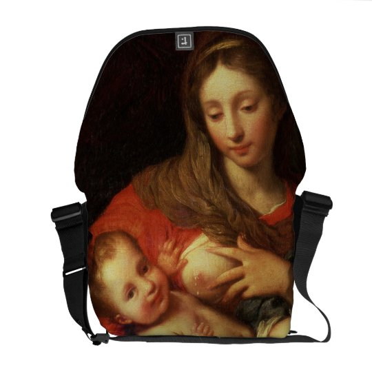 The Holy Family with Elizabeth (oil on panel) (det Courier Bag