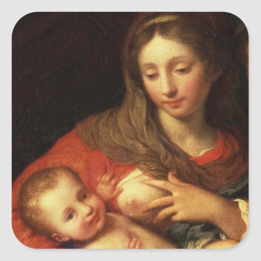 The Holy Family with Elizabeth (oil on panel) (det Square Stickers