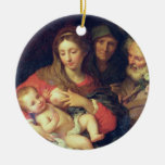 The Holy Family with Elizabeth (oil on panel) Christmas Tree Ornaments
