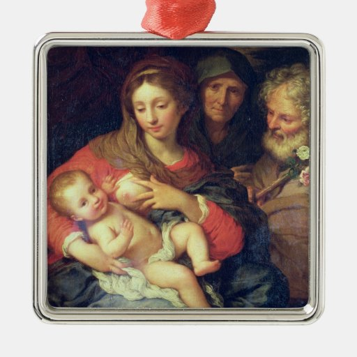 The Holy Family with Elizabeth (oil on panel) Ornament