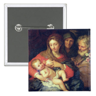 The Holy Family with Elizabeth (oil on panel) Pinback Button
