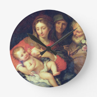 The Holy Family with Elizabeth (oil on panel) Round Clock