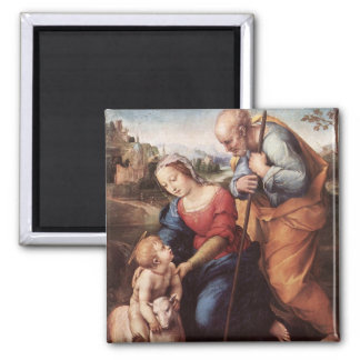 The Holy Family with Lamb 2 Inch Square Magnet