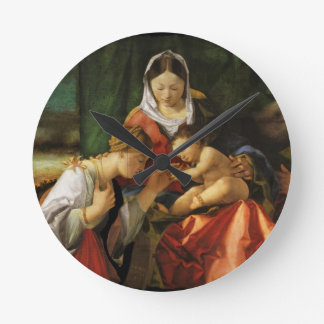 The Holy Family with Saint Catherine Round Clock