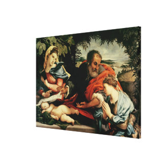 The Holy Family with St. Catherine of Canvas Print