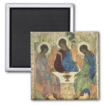 The Holy Trinity, 1420s (tempera on panel) 2 Inch Square Magnet