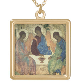 The Holy Trinity, 1420s (tempera on panel) Square Pendant Necklace