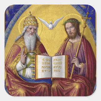 The Holy Trinity by Jean Bourdichon circa 1508 Square Sticker