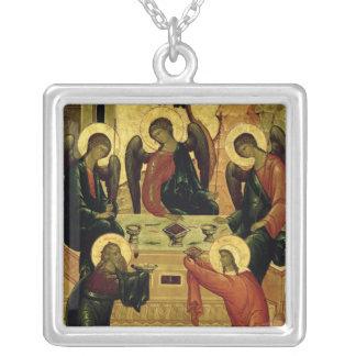 The Holy Trinity, Novgorod School, 15th century Square Pendant Necklace